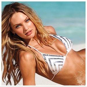 Victoria's Secret Silver Sequin Bikini Top Large